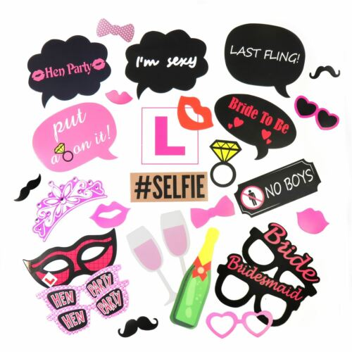 30Pc Hen Night Selfie Photo Booth Props on Sticks Bachelorette Bride Party Games