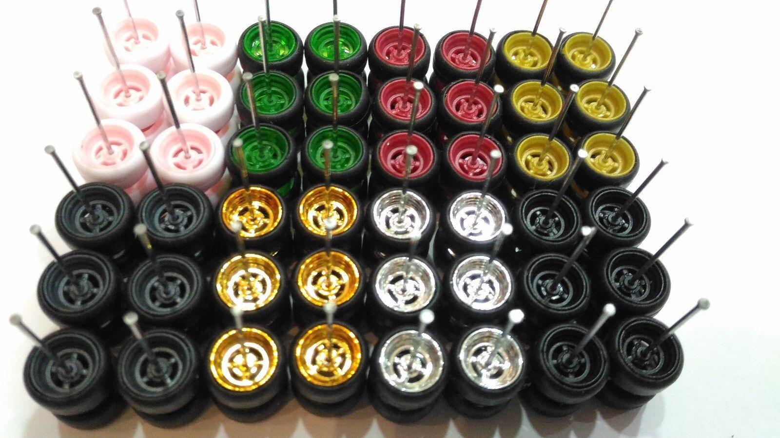 2019 Hot Wheels  4 Spoke Rubber Tire  24 sets JDM (8 colors MIX) see description