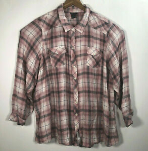Torrid-Women-s-Size-5-Plus-Plaid-Pink-Gray-Button-Front-Long-Sleeve-Shirt-Tunic