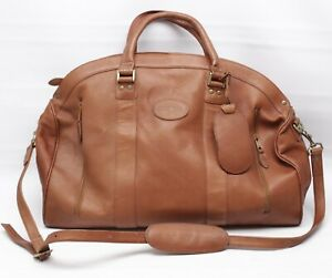 Sedona-Leather-Overnight-Bag-Brown-Shoulder-Strap-Carry-On-Luggage-Tag