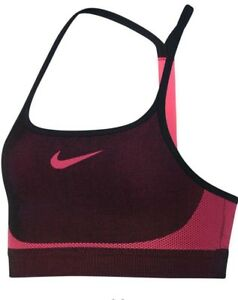 cb7e8005131 Nike Pink Black Dry Fit Racerback Seamless Sports Bra L Girls NWT ...