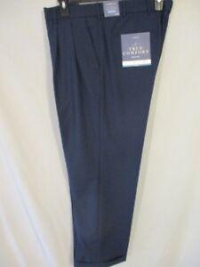 100% De Qualité Croft & Barrow Polyester True Confort Bleu Classique Pli Pantalon Avant Sr $54
