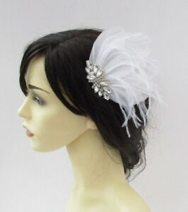 Image is loading White-Silver-Diamante-Feather-Fascinator-Hair-Comb-1920s- 2e8478474a1