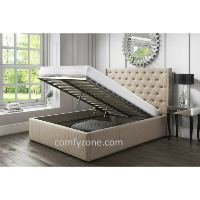 Wondrous Double 4Ft6 Linen Ottoman Bed Frame Silver Slate Sand End Lift Up Bed Ibusinesslaw Wood Chair Design Ideas Ibusinesslaworg