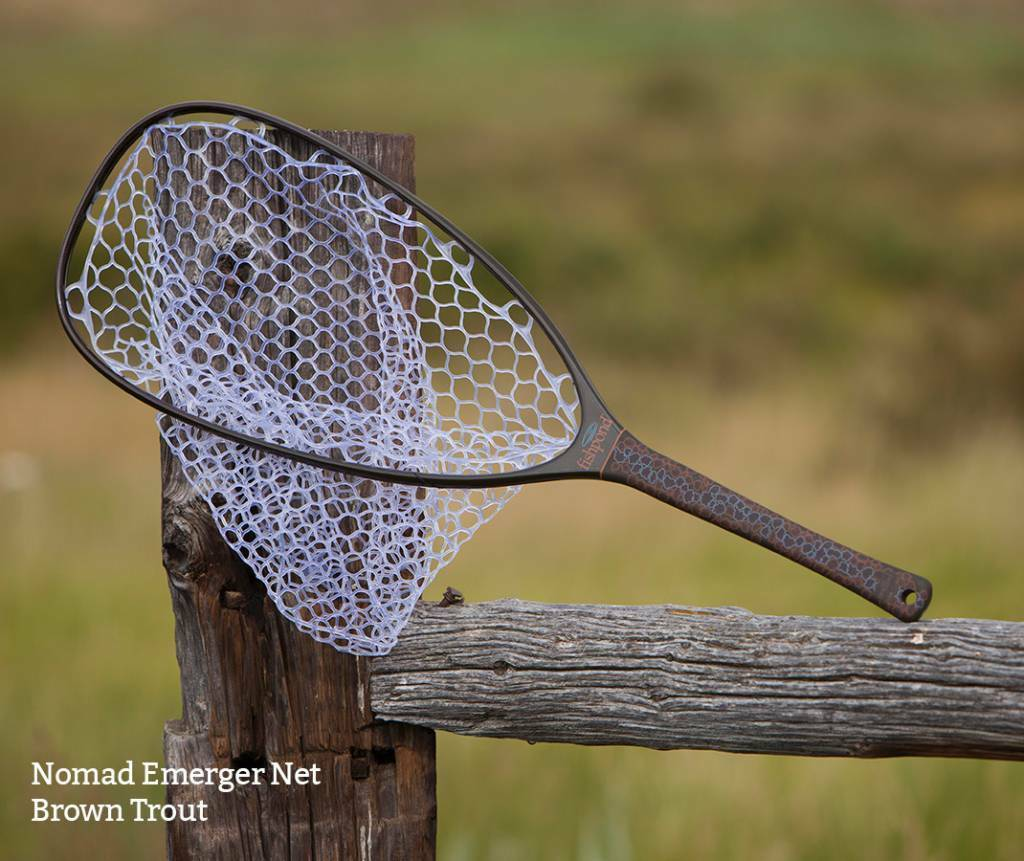 FISHPOND NOMAD EMERGER LANDING NET IN IN NET braun TROUT - CARBON FIBER W/ RUBBER BAG 30491b