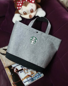 New-Starbucks-GREY-FELT-BAG-SIZE-LARGE-TOTE-HANDBAG-Lunch-Bag-FREE-US-SHIP