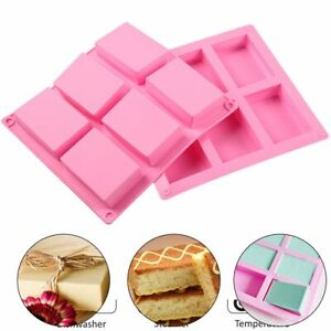 1-4PCS 6-Cavity Rectangle Silicone Soap Making Mold DIY Cake Bakeware Mould Tool