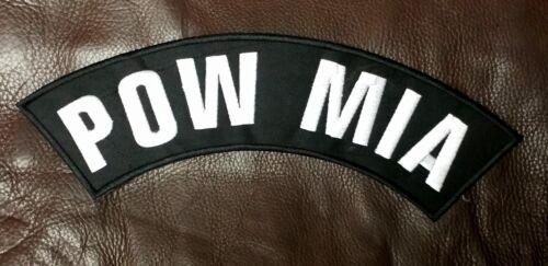 POW MIA White on Black Top Rocker Patches for Vest jacket TR290