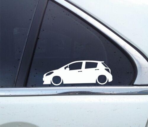 Vitz 3rd gen for Toyota Yaris 5-door 2X Lowered car silhouette stickers