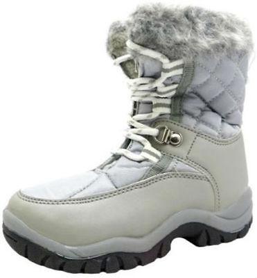 CHILDRENS SPOT ON UNISEX SILVER LACE UP FUR TRIM WARM WINTER SNOW BOOTS - GSSB