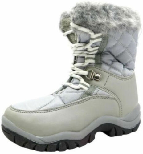 CHILDRENS SPOT ON UNISEX SILVER LACE UP FUR TRIM WARM WINTER SNOW BOOTS GSSB
