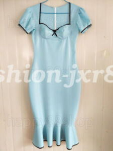 Fashion-Latex-Rubber-Light-Blue-and-Black-Square-Collar-Mermaid-Skirt-Dress
