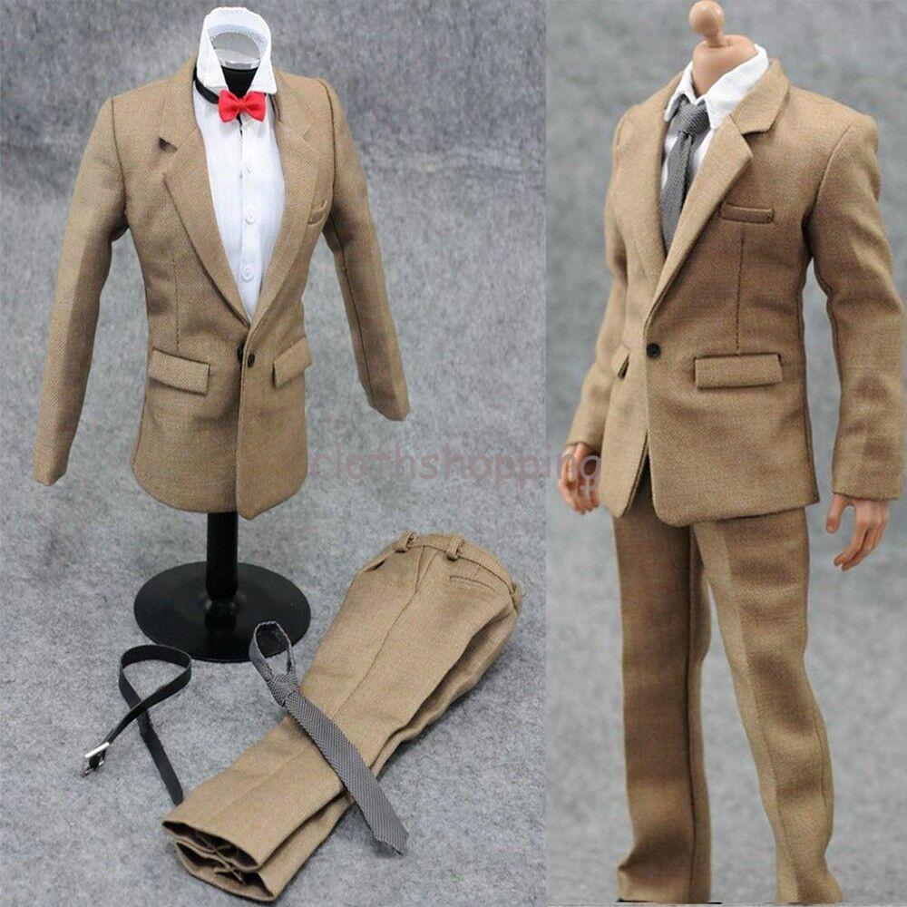 Hot Figure Toys 1 6 Khaki Suit Pants White Shirt Clothes Set For 12  Male Body