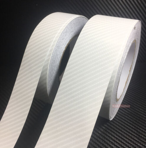 DIY Adhesive White 4D Texture Carbon Fiber Vinyl Tape Car Wrap Sticker Film AB