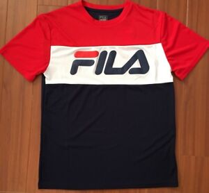 Details about FILA MEN'S MESH JERSEY TEE RED WHITE BLUE WITH FILA LOGO T-SHIRT NWT