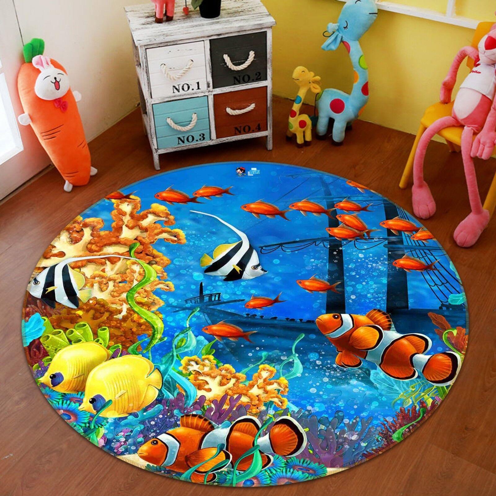 3D PESCE OCEANO 0122 tappetino antiscivolo tappeto camera tappetino tappeto rossoondo elegante UK Carly
