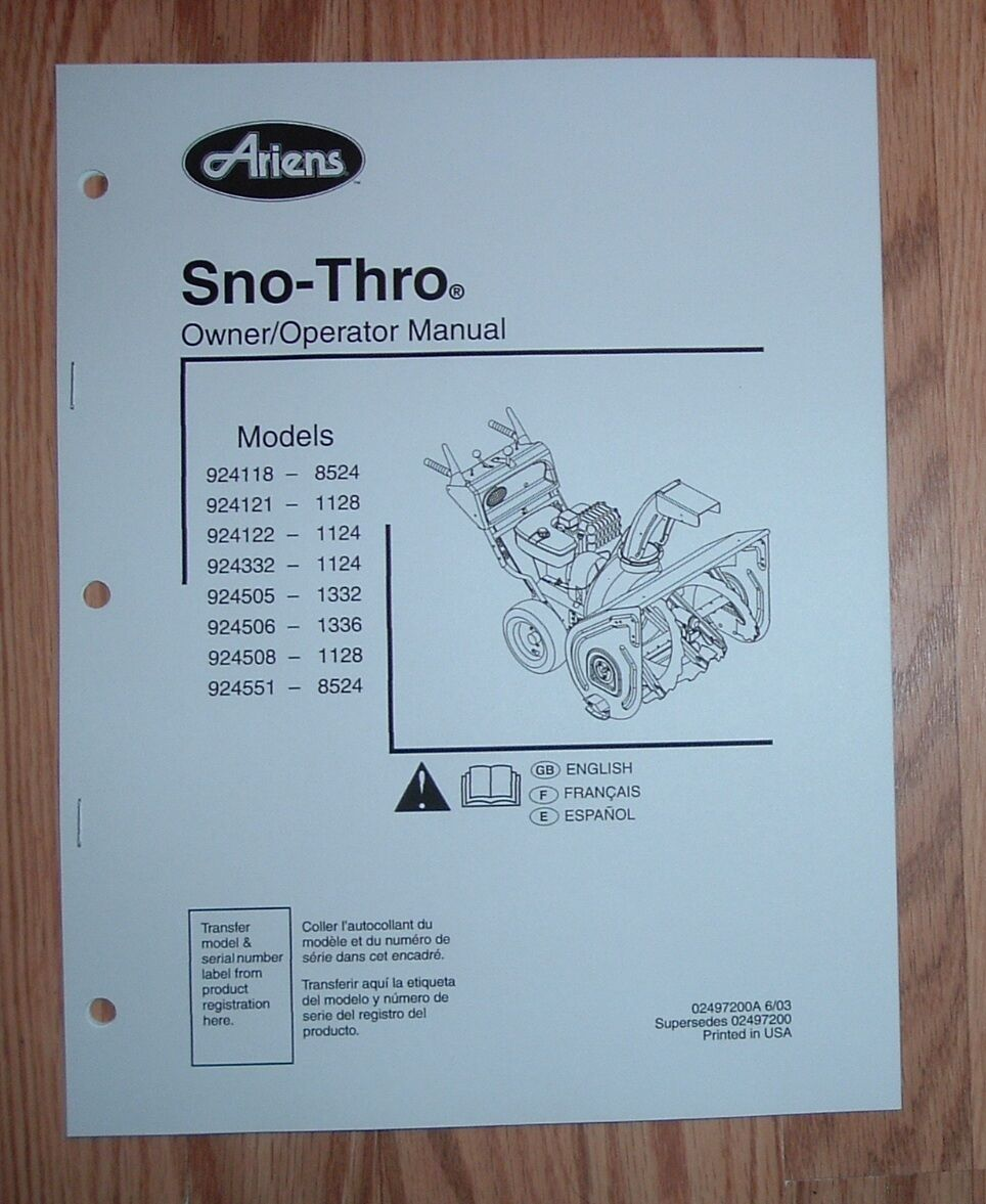 ariens 924332 1124, 924505 1332, 924506 1336 sno thro owner's manual ariens snow blower schematic ariens 1336 snow blower parts diagram #10