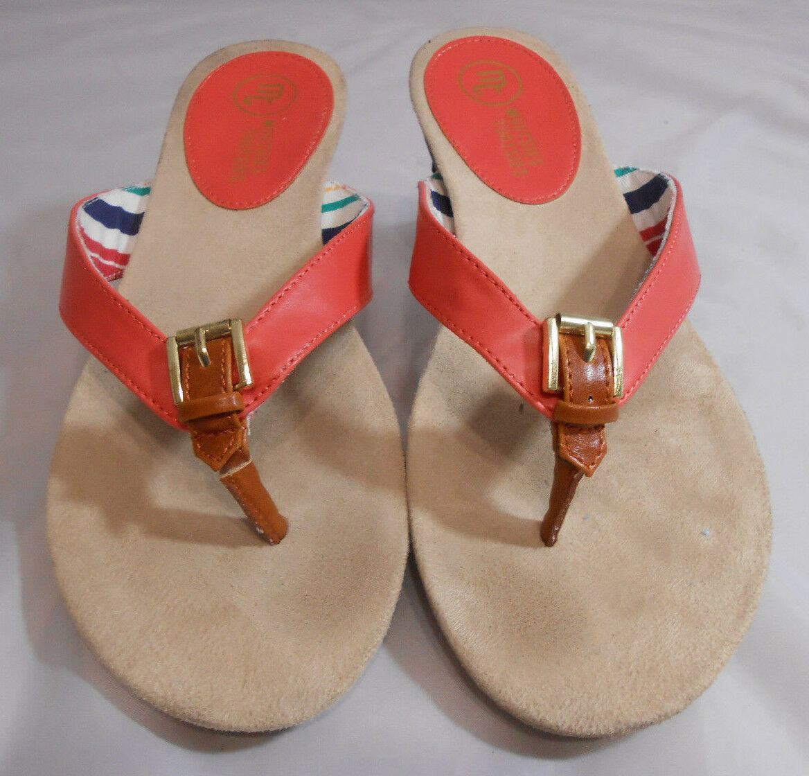 Mootsies Tootsies MOBLUE Salmon and Brown Slip Size On Flip Flops Womens Size Slip 8 M ba6543