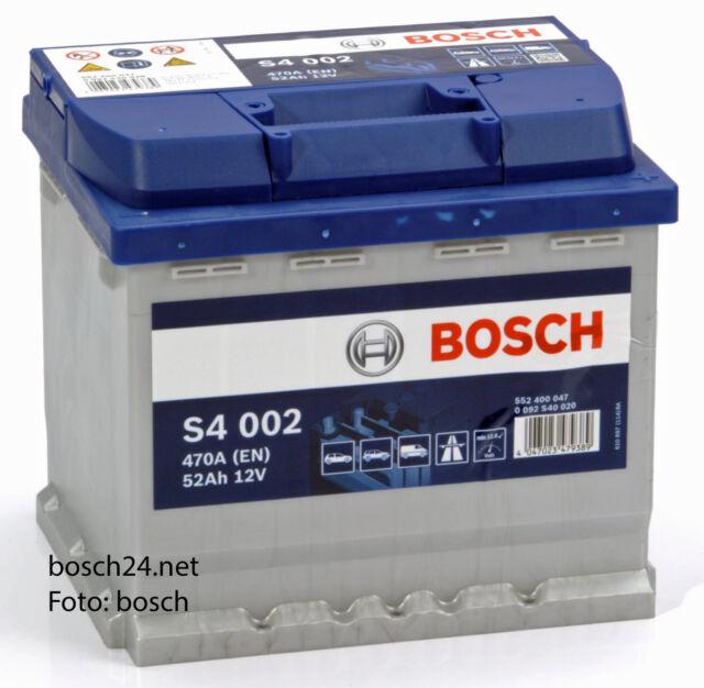 Bosch Starterbatterie S4 12V 52Ah   0092S40020  zB. für Peugeot 207  Benzin