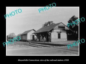 OLD-LARGE-HISTORIC-PHOTO-OF-HAZARDVILLE-CONNECTICUT-THE-RAILROAD-DEPOT-c1930
