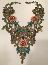 Michal Negrin Baroque Style Swarovski Crystals Beads Roses Flowers Lace Necklace