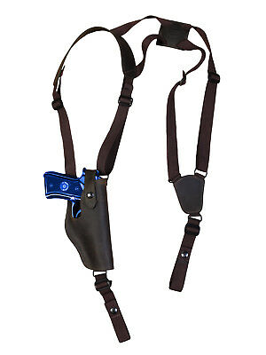 NEW Black Leather Vertical Shoulder Holster Mag Pouch Springfield Full Size 9 40