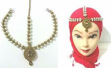 New Head Matha Patti Hijab Chain Gold Tikka Headpiece Bronze Gold Stone Pearl