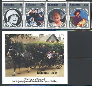 BAHAMAS Sc580-84 SG712-15,MS716 MNH 1985 Life Queen Mother set of 4+MS SCV$8