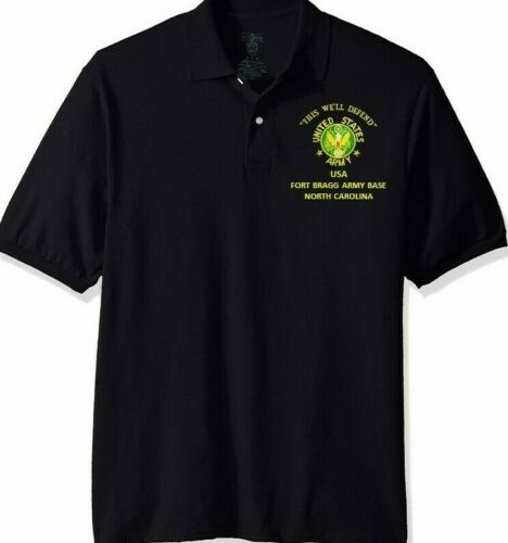 FORT BRAGG ARMY BASE*NORTH CAROLINA*ARMY EMBROIDERED LIGHT WEIGHT POLO SHIRT