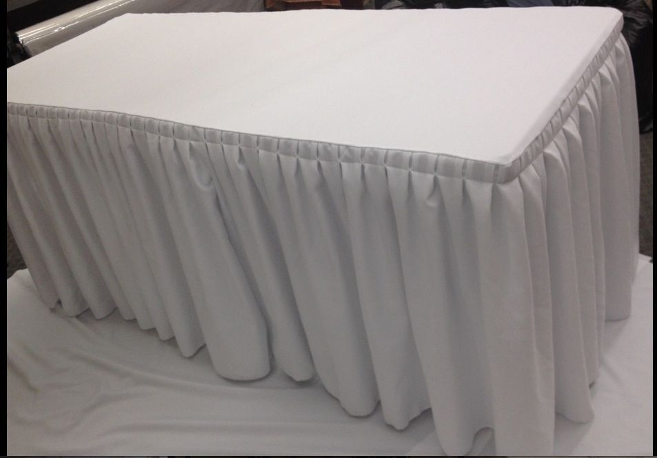 6' Fitted Polyester Double Pleated Table Skirting Cover w Top Topper 21 FarbeS
