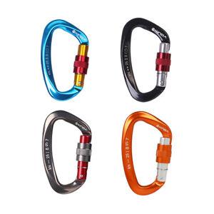 25KN-Aluminum-D-Shape-Carabiner-Screw-Locking-Hook-Climbing-Caving-Rescue-Holder
