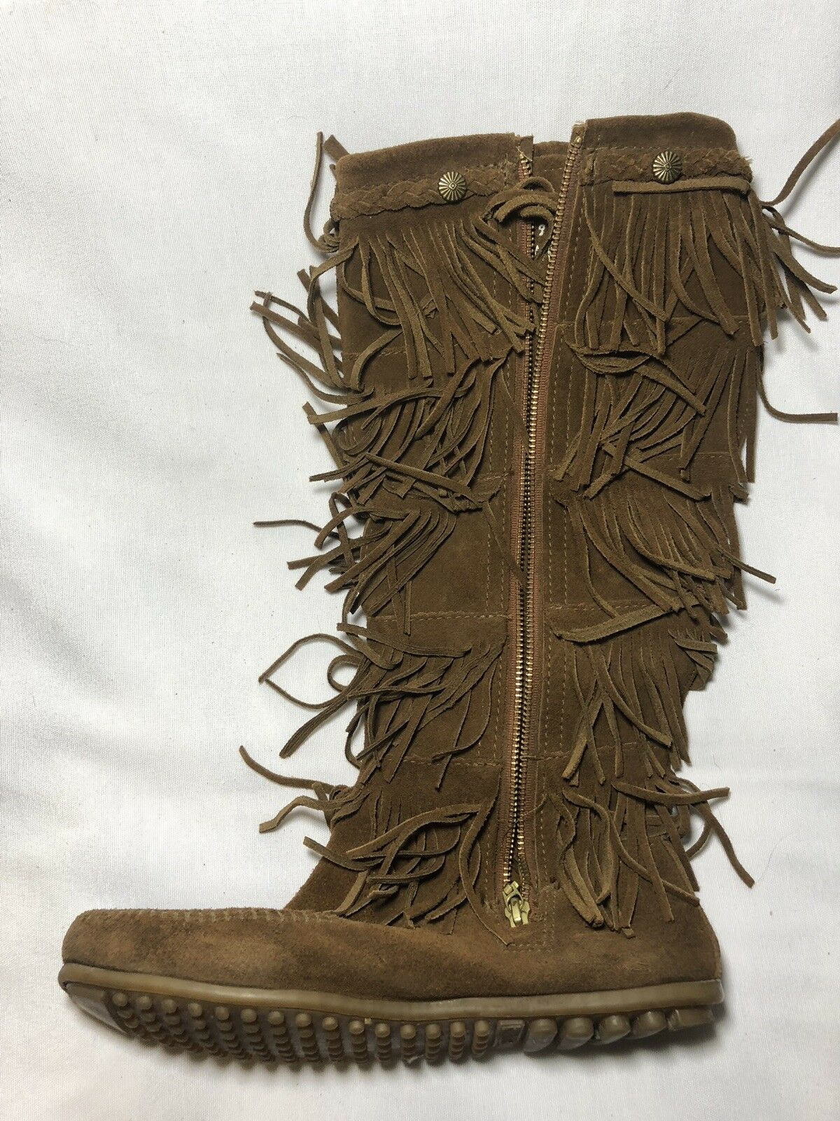 MINNETONKA 5 TIER FRINGE LAYER LAYER LAYER braun suede zip tall moccasin Stiefel 9 P 1701ae
