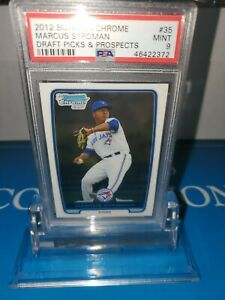 PSA-9-MINT-Marcus-Stroman-RC-2012-1st-Bowman-Chrome-Draft-Rookie-N-Y-Mets