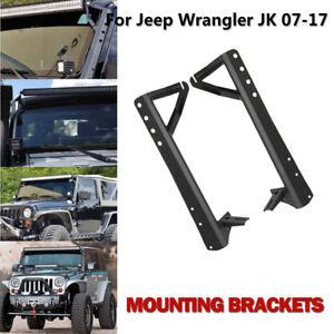 52-034-LED-Work-Light-bar-Steel-Upper-Mounting-Brackets-For-07-17-Jeep-Wrangler-JK