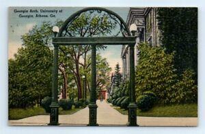 Postcard-GA-University-Of-Georgia-Athens-Georgia-Arch-Linen-View-Vtg-A3