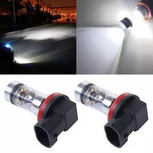 2x-H8-H11-100W-2323-Coche-LED-faros-luces-niebla-lampara-Blanco-6000K-xenon