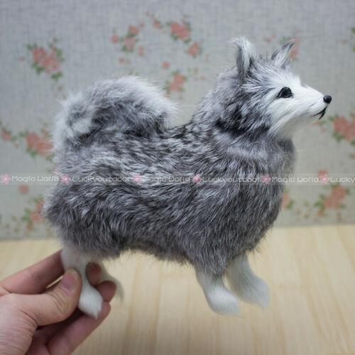 Furry Husky Dog Ornament Decoration Adornment Fleece H5.5inch Christmas Gift