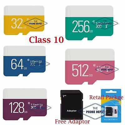 Micro SD Card TF Memory Ultra SDHC Card 32 64 128 256 512GB Class10 W/ADAPTER UK