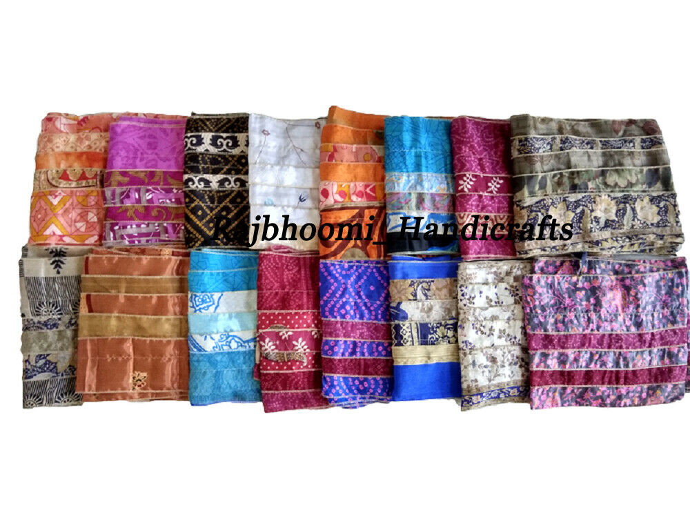 Vintage Silk Sari Scarf Recycled Scarve Stoles Patchwork Scarf Wholesale Lot 100