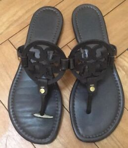 a0b84fbbb Tory Burch Dark Chocolate Brown Miller Sandals Flip Flops Millers ...
