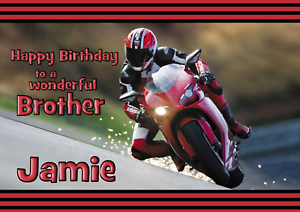 motor bike personalised A5 birthday card son nephew brother grandson name age