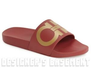 6e6ac90e286914 SALVATORE FERRAGAMO mens 7M red   gold GROOVE slides FLIP-FLOPS ...