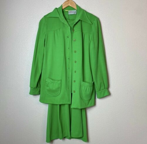 VINTAGE 60s 70s Johnnye pea green pant suit small
