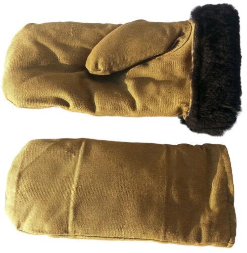 New! Warm Russian Army Sheepskin Lambskin Fur Winter Mittens Made in USSR