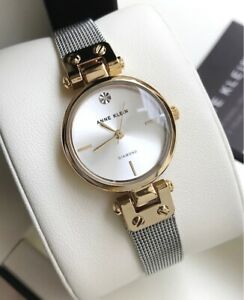 Anne-Klein-Watch-3003SVTT-Diamond-2-Tone-Gold-amp-Silver-Mesh-Bracelet-Women