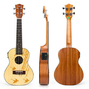 Kmise Soild Spruce 24 inch Electro-Acoustic Concert Ukulele Hawaii guitar