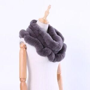 Winter-Real-Rex-Rabbit-Fur-Loop-Infinity-Scarf-Ring-Scarves-Cowl-Mufflers-Snood