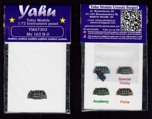 yma7303// YAHU Models Me-163 B-0 Instrument panel 1//72