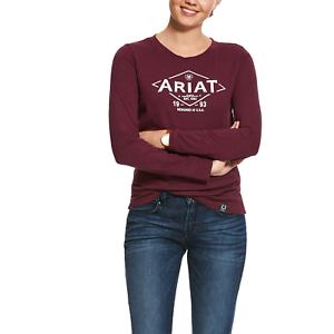 Grapewine Ariat Logo Tile Womens Long Sleeve T-Shirt