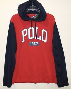 Polo-Ralph-Lauren-Mens-Red-Blue-Polo-1967-Hoodie-L-S-Cotton-T-Shirt-NWT-Size-S